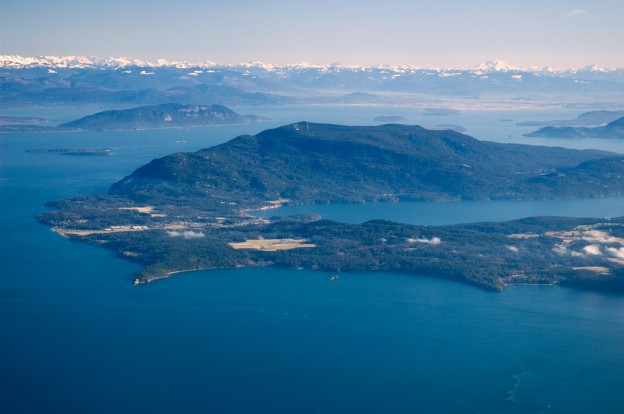 This is Orcas Island in the San Juan Islands of Washington State.